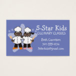 African American girl boy chef kids cooking class Business Card