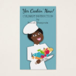 African American woman chef catering food knife Business Card