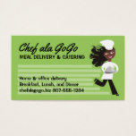 African American woman chef food delivery catering Business Card