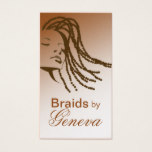 Afrocentric Braids Hair Stylist - metallic gold Business Card