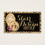 Black & Brown Leopard Beauty Spa Business Card