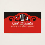 Chef's hat utensils wine chef catering biz cards