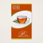 Cup of tea for tea house or tearoom business card