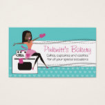 Custom color African American woman chef bakery Business Card