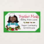 Custom color African American woman chef vegetable Business Card
