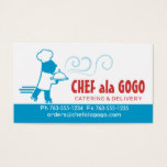 Custom color chef skates food delivery catering business card