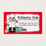 Custom color cute boy chef utensils kids cooking business card