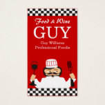Custom color food and wine chef checkerboard business card
