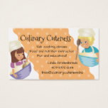 Custom color girl boy chefs kids cooking classes business card