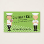 Custom color girl boy kids chefs children cooking business card