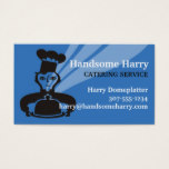 Custom color male chef steaming food catering card