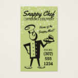 Custom color retro male chef delivery catering business card