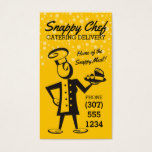 Custom color retro woman chef delivery catering business card