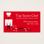 Custom color top secret detective chef catering business card