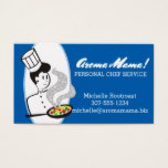 Custom color woman chef aromas skillet catering business card