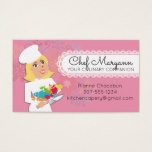 Custom color woman chef blonde culinary catering business card