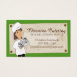 Custom color woman chef brunette catering business card