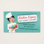 Custom color woman chef culinary catering business card