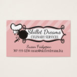 Custom color woman chef hat skillet love catering business card
