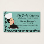 Custom color woman chef hat steaming food catering business card