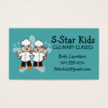 Cute girl boy chef kids cooking classes 5 star business card