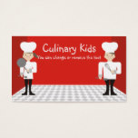cute girl boy chefs cooking classes business ca... business card