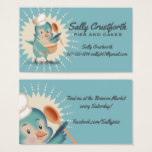 Cute vintage bird chef mixing bowl bakery culinary business card