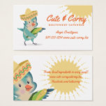 Cute vintage bird Mexican chef southwest catering Business Card