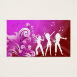 Dj Business Card Music Pink Red Retro Dance