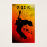 DJ Business Cards Guitar Music Red Yellow