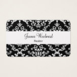 Elegant Damask Pattern Realtor Theme Business Card