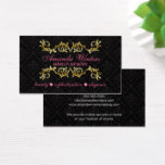 Elegant Gold Flourish and Damask Business Card