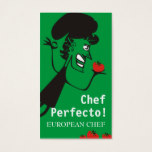 European retro tomato chef catering business cards