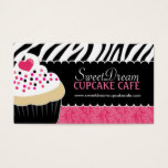 Funky  Zebra Print Cupcake Bakery Business Cards