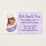 Girl chef hat mixing bowl kids cooking culinary business card