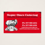 Hand drawn doodle chef hat 5 stars catering business card