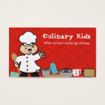 Kawaii boy chef kids cooking business cards