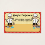Kawaii girl boy chef kids cooking business cards