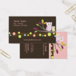 PixDezines Mommy   Baby owls childcare Business Card