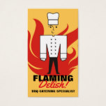 Retro chesty male chef flames catering culinary business card