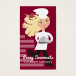 Running woman chef dome platter catering culinary business card