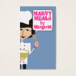 Skinny woman chef mixing bowl cooking baking business card