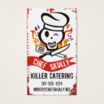Skull chef hat flames knife culinary catering card