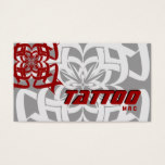 Tattoo Business Card Tribal Red Gray