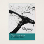 Vasquez - Bold Painter Artist Illustrator (teal) Business Card