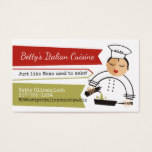 Woman chef olive oil skillet Italian catering Business Card